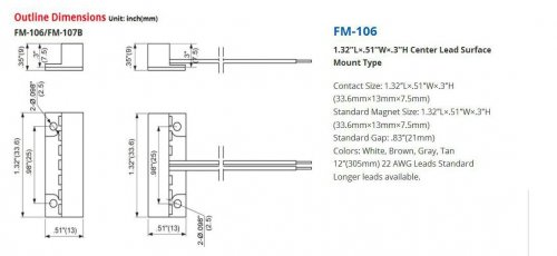 Contact magnetic alb,apartent FM-106-WH